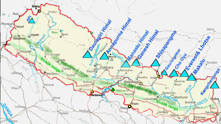 Map of Nepal with mountain ranges