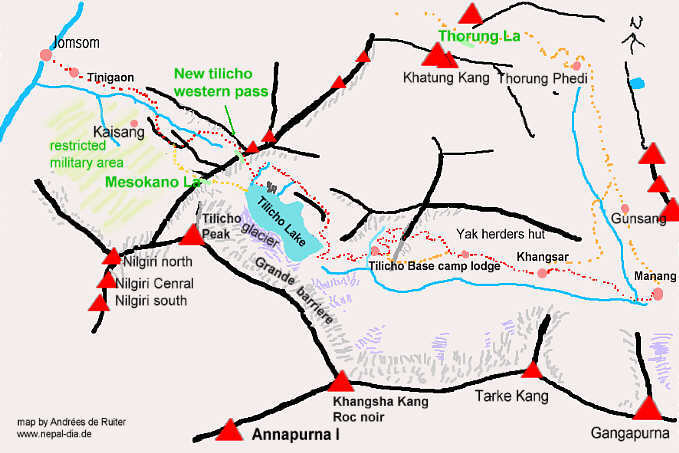 Nepal trekking map to tilicho lake
